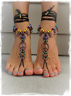 For Kristi. Hippie Boho PEACE sign BAREFOOT sandals от GPyoga