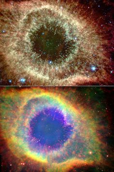 Two views of the Helix Nebula. NASA. The nebula, which is composed of gaseous shells and disks puffed out by a dying sunlike star, exhibits complex structure on even the smallest visible scales.
