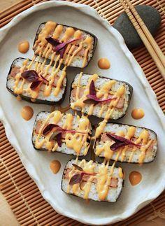 Hawaiian SPAM Musubi with Dynamite Sauce 11 (island food) I Love Food, Good Food, Yummy Food, Food Trucks, Sushi Recipes, Cooking Recipes, Crescent Rolls, Hawaiin Food, Hawaiian Dishes