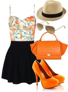 Can't say that I like orange but this outfit is cute!