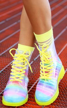 See through transparent clear jelly lace up combat rain boots ...