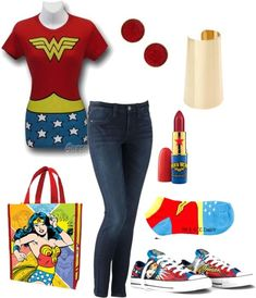 A fashion look from November 2012 featuring wonder woman costume, blue jeans and Hot Topic. Browse and shop related looks. Wonder Woman Shoes, Wonder Woman Outfit, Super Hero Outfits, Cool Outfits, Casual Outfits, Disfraz Wonder Woman, Estilo Nerd, Moda Geek, Wonder Woman Birthday
