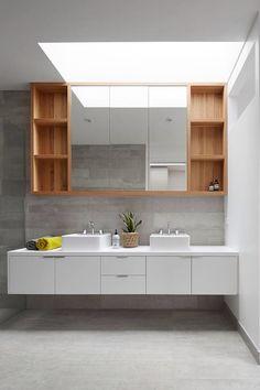 Bathroom palette. Timber, white and CSR barestone panel.