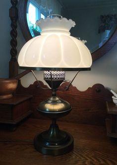 Vintage Hurricane Lamp Fenton with Brass Toned Base Large Mellon Shade | eBay