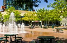 The Grove Plaza in Downtown Boise. Boise Centre in the background