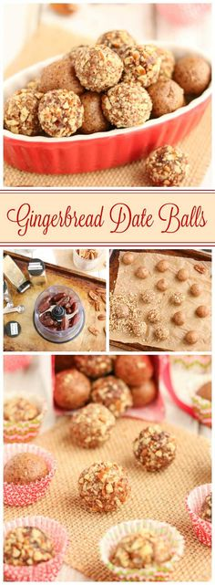 Easy no-bake holiday treats! These 6-ingredient Gingerbread Date Balls take just minutes to make! They're filled with yummy, holiday gingerbread spices - indulgent enough for holiday desserts or for pretty Christmas cookie trays, yet nutritious enough for a healthy snack! No guilt in these little indulgences! Bonus: since this date ball recipe is so quick and can be made ahead and frozen, it's perfect for last-minute, homemade DIY gifts, too! Can be made nut-free…
