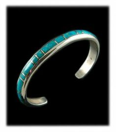 Fox Turquoise has a look of its own.  The aqua blue Turquoise with white cloud matrix is very striking and unique.  This bracelet features some very nice quality natural Fox Turquoise.