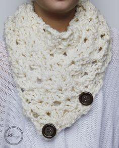 """The """"Victoria"""" Button Crochet Scarf Pattern // Rescued Paw Designs - free pattern."""