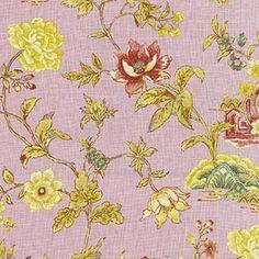 Pondicherry Prune Lavender Floral Linen Drapery Fabric - 57603 | BuyFabrics.com