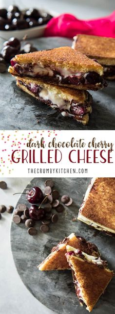Prepare to appreciate sandwiches in a whole new way with this Dark Chocolate Cherry Dessert Grilled Cheese! Fresh bing cherries, sweetened Mascarpone, and luscious dark chocolate melted on brioche make this a sandwich destined for your dessert menu! Cherry Desserts, Cherry Recipes, Desserts Menu, Dessert Recipes, Lunch Recipes, Sandwich Recipes, Easy Recipes, Chocolate Cherry, Best Chocolate
