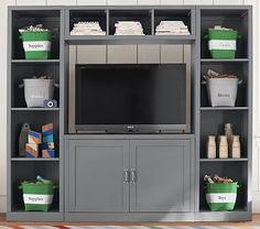 Shop playroom storage and kids storage furniture at Pottery Barn Kids. Build your own storage wall and cubby system that will fit your organization needs. Playroom Furniture, Furniture Sale, Playroom Ideas, Wall Storage Systems, Storage Solutions, Baby Storage, Entertainment Wall, Media Wall, High Quality Furniture