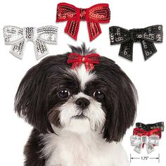"All that glitters could be on your dog's head with our glimmering, shimmering Sequin Barrette Dog Hair Bow. Just right for any special event, or the winter holidays. About 2"" wide and in three color c"