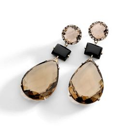Nude Casual Collection - Brumani Earrings in white vintage gold with diamonds, black and smoky quartz. Fall Jewelry, I Love Jewelry, Summer Jewelry, Jewelry Box, Jewelry Accessories, Fashion Accessories, Fashion Jewelry, Jewelry Design, Ring Earrings