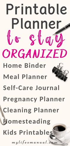 Planners and Binder Printables to make you an organized mom! Home Binder, Home Planner, Planner Tips, Goals Planner, Daily Printable, Printable Planner, Printables, Organizing Paperwork, Planner Organization