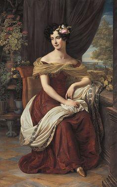 """history-of-fashion: """" ab. 1826-1827 Friedrich Wilhelm Schadow - Fanny Ebers """""""