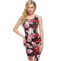 Dark red Elegant Women O-Neck Sleeveless Floral/Solid Tank Silm Package Hip Going Out Dresses
