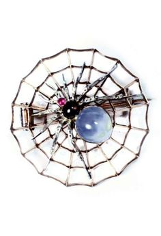 CARLO GIULIANO - An antique jewelled spider and web brooch in high carat rose gold and silver, circa 1880. Depicting a spider splayed across a circular section of web, the body set with cabochon sapphires and rubies. Length 3cm. #Giuliano #antique