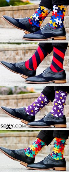 Take your SOCK GAME to the next level. I love socks! Not just any sock.really sporty socks. Socks with print, awesome socks,cool socks.Do you like cool socks! Sharp Dressed Man, Well Dressed Men, Socks Outfit, Men's Shoes, Dress Shoes, Style Masculin, Herren Style, Crazy Socks, Happy Socks