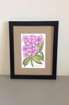 Mountain Laurel Watercolor Painting Framed by GulfLifebyNichole