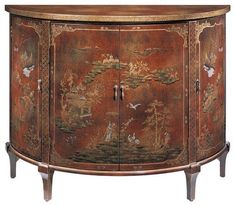 English George III Red Lacquered Chinoiserie Decorated Cabinet