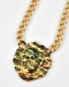 Gold Tone / Multi Color Camouflage Print / Lead Compliant / Metal Chain / Animal / Lion Pendant / Necklace