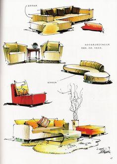 hand renderings sofas
