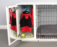 Dog Crate with built in storagebuilt crate dog storage Dog Storage, Built In Storage, Crate Storage, Relaxed Dog, Dog Crate Furniture, Dog Kennel Cover, Crate Table, Crate Cover, Diy Bench