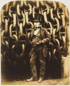 The famous Victorian engineer Isambard Kingdom Brunel standing in front of the launching chains of his ship The Great Eastern. Brunel was one of the most ambitious engineers of the Industrial Revolution and built several pioneering bridges, tunnels, railway lines and ships including the 3 largest passenger ships of their day - The Great Western, The Great Britain and The Great Eastern.