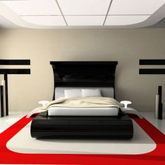 Modern black bedroom with red accent
