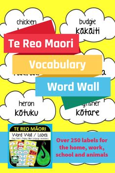 Te Reo Maori Vocabulary Words Set 1 - Ready to Print and Display in any Maori or New Zealand Classroom. Perfect for creating a bright word wall classroom display or posting around the home to help learn everyday Maori Language words. Word Wall Labels, Classroom Displays, Classroom Decor, Maori Words, Co Teaching, Vocabulary Cards, Simple Prints, Your Teacher, Printable Cards