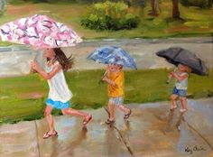 Byers kids-rainy day, painting by artist Kay Crain