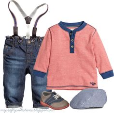 Baby Boy's Outfit - Jeans & Suspenders - featuring items from H&M, and Target. The jeans with suspenders are so stinking cute!
