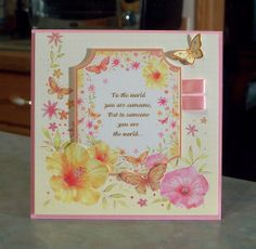 Floral Card  To Someone You Are the World.... was made using products from the Sparkling Pearl collection by Hunkydory.
