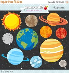 SALE+The+Planets+Cute+Digital+Clipart++by+JWIllustrations+on+Etsy