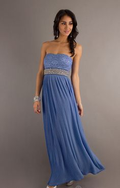 Lace Decorated Beading Pleated Prom Dress
