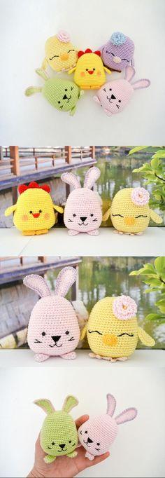 Baby Knitting Patterns Animals Easter Bird, Bunny And Chicken Amigurumi Pattern Bag Crochet, Cute Crochet, Baby Blanket Crochet, Crochet For Kids, Crochet Crafts, Crochet Dolls, Crochet Baby, Crochet Projects, Crochet Ideas