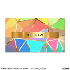 Minimalistic Shiny Gold Blue Vip Business Card