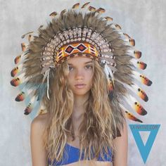 """Indian Headdress in Red by LAnativeAU on Etsy, $69.00<<< Sickening cultural appropriation. She looks so much better than those """"Indians"""" right??!! No!!"""