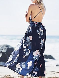 26f496fd86112 BerryGo Women s Sexy Deep V Neck Backless Floral Print Split Maxi Party  Dress Summer Dresses For