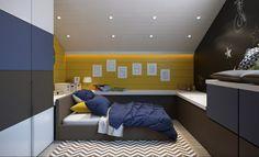 La camera da letto di un adolescente deve essere divertente e funzionale. Un piccolo rifugio dal mondo esterno dove studiare e incontrare gli amici con elementi fantasiosi, spazi divisi e tanti contenitori per fare ordine.