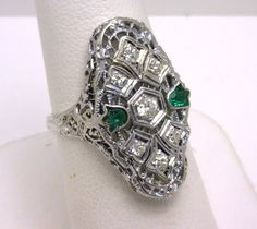 vintage 18k diamond and emerald ring benchmarkgembrokers.com