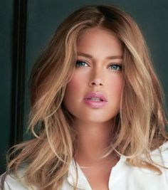 Doutzen Kroes' dark blonde hair colour. http://beautyeditor.ca/2014/11/13/blonde-for-pale-skin