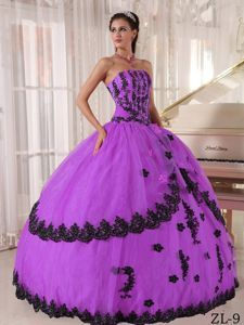 Purple and Black Strapless Dress for Quinceanera with Appliques
