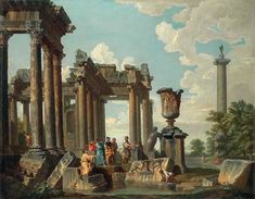 """Giovanni Paolo Panini, """"Capriccio with Diogenes throwing away his drinking cup"""", Private Collection. Giovanni Paolo Panini, Grand Tour, 17th Century, Les Oeuvres, Civilization, Landscape Paintings, Surrealism, Egypt, Sculptures"""