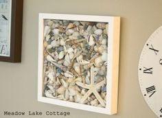 Shell (or rock) Shadow Box - For Crysta's room for her shell collection. Seashell Display, Seashell Art, Seashell Crafts, Beach Crafts, Kids Crafts, Craft Projects, Beach Shadow Boxes, Seashell Shadow Boxes, Shell Collection