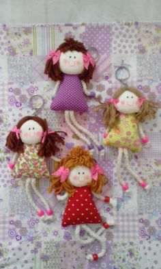 ring miniature dolls ring with doll cord miniatures, angel skin, painting cloth fabric painting, manual sewing Tiny Dolls, Soft Dolls, Fabric Dolls, Paper Dolls, Doll Crafts, Sewing Crafts, Craft Projects, Sewing Projects, How To Make Toys
