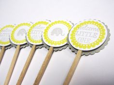 Baby Shower Cupcake Toppers Grey and Yellow  by WildBeanlore, $6.00