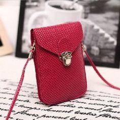 Fluorescence Colors Women Mobile Phone Bags Fashion Small Change Purse Female Woven Buckle Shoulder Bags Mini Messenger Bag