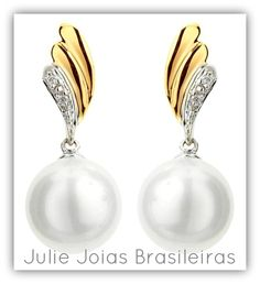 Brincos em ouro amarelo e branco 750/18k com diamante e pérola cinza (750/18k yellow & white gold earrings with diamond and grey pearl)