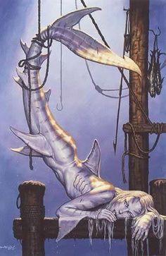 Les tags les plus populaires pour cette image incluent : mermaid, shark, boy, caught et kill